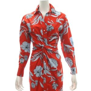 ZARA WOMAN RED TROPICAL PRINT DRESS SIZE MEDIUM